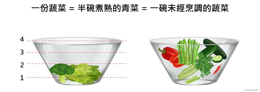 一份蔬菜半碗煮熟的青菜 一碗未經烹調的蔬菜